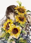 1girl bouquet brown_hair flower highres long_hair niwa_haruki original sunflower wavy_hair white_background yellow_eyes yellow_flower