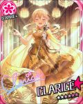blonde_hair blush character_name clarice_(idolmaster) closed_eyes dress idolmaster idolmaster_cinderella_girls long_hair smile stars
