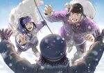 1girl 2boys :d ainu ainu_clothes asirpa banda black_hair black_headwear blue_eyes boots bow_(weapon) brown_gloves brown_hair brown_jacket cape facial_hair from_behind full_body fur_cape fur_trim ganpiro gloves goatee golden_kamuy grey_hair happy happy_tears hat holding holding_bow_(weapon) holding_weapon jacket jewelry jumping long_hair long_sleeves military_hat multiple_boys open_mouth outdoors outstretched_arms outstretched_hand purple_headband purple_jacket red_scarf ring sack scarf shiraishi_yoshitake short_hair sideburns smile snowing sugimoto_saichi tears upper_body upper_teeth weapon white_jacket