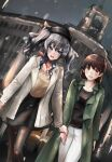 2girls :d alternate_costume black_legwear black_shirt black_skirt blouse blue_eyes brown_eyes brown_hair coat dutch_angle eyebrows_visible_through_hair feet_out_of_frame ginza_(tokyo) ginza_wako green_coat highres holding_hands kantai_collection kashima_(kantai_collection) kazu_(really_in_hot_water_now) long_hair looking_at_another multiple_girls night official_alternate_costume ooi_(kantai_collection) open_mouth pants pantyhose red_eyes red_neckwear red_scarf scarf shirt sidelocks silver_hair skirt smile snowing twintails wavy_hair white_coat white_pants yellow_blouse