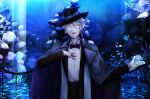 1boy :d aquarium azul_ashengrotto black_bow black_headwear black_neckwear black_pants black_suit blue_theme bow bowtie coral fish glasses gloves grey_eyes highres looking_at_viewer male_focus open_mouth pants smile solo standing twisted_wonderland utsuginoki white_gloves white_hair