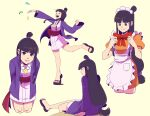 1girl apron ayasato_mayoi bangs black_hair blunt_bangs bow clenched_hand closed_eyes closed_mouth commentary confetti dress english_commentary eyebrows_visible_through_hair green_eyes gyakuten_saiban hair_bun hair_tie highres holding holding_bow jewelry knees leg_up long_hair long_sleeves looking_at_viewer lynyster maid_headdress multiple_views necklace open_mouth orange_dress pink_dress red_bow sash shiny shiny_hair short_sleeves sitting standing standing_on_one_leg teeth tied_hair toes tongue |d