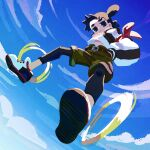 1boy belt black_eyes black_hair black_legwear blue_sky camouflage camouflage_shorts clouds cloudy_sky day double_bun from_below hands_in_pockets highres kunitarou-art legwear_under_shorts long_sleeves looking_at_viewer nezha_(the_legend_of_luoxiaohei) outdoors pantyhose puffy_long_sleeves puffy_sleeves shoes shorts sky solo the_legend_of_luo_xiaohei upshirt
