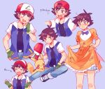 1boy ash_ketchum ashley_(pokemon) backwards_hat bangs baseball_cap belt black_shirt blush brown_hair closed_mouth collarbone commentary crossdressing crying dirty dirty_clothes dress dress_bow embarrassed english_commentary eyebrows_visible_through_hair fingerless_gloves frills frown gen_1_pokemon gloves green_gloves hand_up hat head_tilt highres jacket kakisatober knees looking_to_the_side male_focus open_mouth orange_dress pikachu pokemon pokemon_(anime) pokemon_(classic_anime) pokemon_(creature) raised_eyebrows shirt short_hair short_sleeves smile teeth tongue