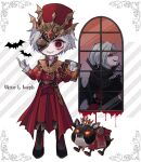 2boys animal bat belt black_footwear blood book character_name closed_mouth crown dog gloves glowing glowing_eyes grey_hair hat holding holding_book identity_v joseph_desaulniers long_hair male_focus mask multiple_boys official_alternate_costume orange_eyes parted_lips red_eyes red_headwear smile standing stitched_mouth stitches tendenbarabara vampire victor_grantz white_gloves