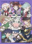 bangs beanie beige_headwear blonde_hair blue_jacket bomper calem_(pokemon) character_request chibi collared_shirt commentary_request copyright_request dawn_(pokemon) eldegoss engine_sentai_go-onger ensemble_stars! espurr gen_4_pokemon gen_6_pokemon gen_8_pokemon green_eyes green_hair grey_eyes hakaze_kaoru hat highres jacket kishiryu_sentai_ryusoulger looking_at_viewer milo_(pokemon) mimura_(nnnnnnnnmoo) open_mouth pink_hair piplup poke_puff pokemon pokemon_(creature) pokemon_(game) pokemon_dppt pokemon_oras pokemon_xy red_neckwear ryuusoul_gold sazanami_jun scarf shirt short_hair sparkle starter_pokemon steven_stone sun_hat super_sentai teeth tongue translation_request white_headwear white_shirt wooloo