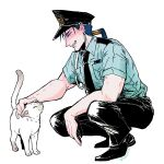 1boy 1other animal blue_hair cat closed_eyes closed_mouth collared_shirt cu_chulainn_(fate)_(all) earrings fate/stay_night fate_(series) from_side full_body grin hat jewelry k-996 lancer long_hair male_focus muscle necktie pants petting police police_hat police_uniform ponytail shirt short_sleeves simple_background smile squatting type-moon uniform