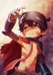 1boy arm_up armpits blurry blurry_background brown_hair cape helmet highres horned_helmet kunitarou-art made_in_abyss mechanical_arms parted_lips pointy_ears red_cape regu_(made_in_abyss) shirtless solo sweatdrop upper_body yellow_eyes