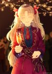 1girl :d artist_name bangs birthday blonde_hair blue_shirt blurry blurry_background blush bow breasts center_frills champagne_flute closed_eyes coat collared_shirt commentary_request cup drinking_glass earrings ereshkigal_(fate/grand_order) eyebrows_visible_through_hair facing_viewer fate/grand_order fate_(series) fingernails frills glint hair_bow highres holding holding_cup jewelry light_particles long_hair long_sleeves necktie open_mouth pom_pom_(clothes) pom_pom_earrings red_bow red_coat red_neckwear red_skirt sash shirt skirt skull smile solo tiara twitter_username two_side_up upper_body very_long_hair yue_natsuki