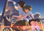 1boy 1girl arms_around_waist bag bangs bicycle bicycle_basket black_pants black_skirt blush bow brown_eyes brown_hair closed_mouth clouds cloudy_sky commentary_request day from_side ground_vehicle highres hotaru_iori kyon looking_back multiple_riders open_mouth outdoors pants pleated_skirt purple_bow riding sasaki_(suzumiya_haruhi) school_bag school_uniform shirt short_hair short_sleeves skirt sky smile sunlight suspenders suzumiya_haruhi_no_yuuutsu thigh-highs twilight white_legwear white_shirt younger