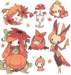 alternate_color autumn_leaves brown_eyes charamells closed_mouth commentary english_commentary fangs gen_4_pokemon gen_5_pokemon gen_7_pokemon head_tilt highres leavanny lilligant morelull mythical_pokemon open_mouth petilil pokemon pokemon_(creature) sewaddle shaymin smile swadloon white_background