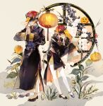 braid highres jack-o'-lantern jiangshi lantern long_hair niwa_haruki no_socks original plant pumpkin red_nails short_hair silk sleeves_past_wrists spider_web yellow_eyes