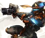 1boy b3_wingman crossed_arms dual_wielding from_side glowing gun handgun helmet highres holding holding_gun holding_weapon kotone_a looking_ahead pilot_(titanfall_2) pistol smoke smoking_gun solo titanfall_(series) titanfall_2 visor weapon white_background