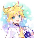 1boy bow bowtie commentary earmuffs formal fur-trimmed_gloves fur_trim fuzichoco gloves headphones headset highres kagamine_len looking_at_viewer magical_mirai_(vocaloid) male_focus open_mouth short_ponytail signature smile solo spiky_hair suit upper_body vocaloid white_gloves white_suit