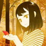 1girl autumn_leaves bird bird_on_hand bob_cut commentary cupping_hands english_commentary forest from_side halphelt hands_up head_tilt medium_hair nature original parted_lips shirt smile solo spot_color striped striped_shirt tree upper_body yellow_theme