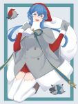 1girl 2others :d animal blue_eyes blue_hair blush buttons eyebrows_visible_through_hair gloves gotland_(kantai_collection) grey_gloves hair_between_eyes hat highres kantai_collection long_hair mole mole_under_eye multiple_others open_mouth pom_pom_(clothes) sack santa_costume santa_hat sheep shingyou_(alexander-13) smile thigh-highs white_legwear