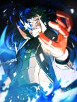 1boy amamiya_ren bangs black_coat black_hair blue_fire blurry blurry_foreground btmr_game chain coat fire gloves glowing glowing_eye hair_between_eyes long_sleeves male_focus open_mouth persona persona_5 red_gloves signature solo