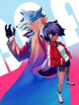 1boy 1girl animal_ears brand_new_animal brown_fur dolphin_shorts furry hand_up hands_in_pockets highres jacket kagemori_michiru kunitarou-art ogami_shirou raccoon_ears raccoon_girl raccoon_tail red_jacket shirt shoes shorts tail track_jacket two-tone_fur white_footwear white_shirt wolf_boy