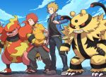 2boys afro baggy_pants black_shirt blonde_hair blue_eyes blue_jacket closed_mouth clouds collared_shirt electivire flint_(pokemon) gen_4_pokemon grey_eyes grey_footwear hand_on_hip hand_up jacket long_sleeves magmortar male_focus multiple_boys open_clothes open_jacket outdoors pants pokemon pokemon_(creature) pokemon_(game) pokemon_dppt redhead sandals shirt shoes short_sleeves sky smile spiky_hair standing symbol_commentary teeth tsukumo_(shiro_bnal) volkner_(pokemon)