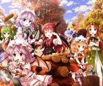 6+girls aqua_eyes ascot axe blonde_hair blue_eyes blue_hair braid brooch carrot carrying cirno clouds commentary_request crossed_arms crying daiyousei eggplant fire flandre_scarlet green_eyes green_hair hat hat_ribbon head_wings highres holding holding_knife hong_meiling izayoi_sakuya jewelry knife koakuma light_purple_hair long_hair maid_headdress mob_cap multiple_girls necktie one_side_up onion open_mouth orange_hair outdoors patchouli_knowledge peeling piggyback potato red_eyes redhead remilia_scarlet ribbon rice rumia ruu_(tksymkw) short_sleeves side_braid silver_hair skirt skirt_set sky smoke sweat tears the_embodiment_of_scarlet_devil touhou tree twin_braids v-shaped_eyebrows vest waist_bow white_headwear wings wrist_cuffs