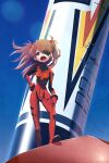 1girl blue_eyes blue_sky bodysuit brown_hair eyepatch highres kunitarou-art long_hair looking_at_viewer multicolored multicolored_bodysuit multicolored_clothes neon_genesis_evangelion open_mouth outdoors pilot_suit plugsuit red_bodysuit shikinami_asuka_langley sky solo souryuu_asuka_langley standing wide_shot