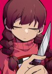 1girl bangs braid brown_hair checkered closed_eyes closed_mouth commentary_request ehfhfh_3712 facing_viewer highres holding holding_knife kitchen_knife knife korean_commentary long_hair low-tied_long_hair madotsuki pink_background pink_sweater simple_background solo sweater turtleneck turtleneck_sweater twin_braids twintails upper_body weapon yume_nikki