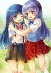 2girls arios_(orochi_yuta) blue_bow blue_eyes blue_hair blue_vest bow furude_rika hanyuu highres higurashi_no_naku_koro_ni horns long_hair multiple_girls one_eye_closed open_mouth pink_bow plaid plaid_skirt pleated_skirt purple_hair red_skirt shirt short_sleeves skirt suspender_skirt suspenders vest violet_eyes white_shirt