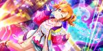 blue_eyes blush dress jacket kousaka_honoka love_live!_school_idol_festival_all_stars orange_hair short_hair wink