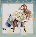 1girl black_footwear bouquet brown_hair chair curly_hair flower frills hair_flower hair_ornament high_heels highres long_hair niwa_haruki original sitting white_flower