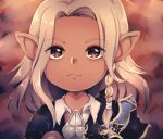 1boy armor braid brown_eyes cape_removed chekkit collared_shirt dark_skin english_commentary expressionless eyelashes final_fantasy final_fantasy_xiv forehead highres lalafell male_focus medium_hair pipin_tarupin platinum_blonde_hair pointy_ears shirt shoulder_armor side_braid solo