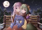 2girls :d ;< bench black_headwear blouse blue_eyes blue_shirt blurry blush bokeh bow bowtie breasts brown_scarf depth_of_field eyeball eyebrows_visible_through_hair fang feet_out_of_frame full_moon green_hair green_skirt hair_between_eyes hat hat_bow hat_ribbon hata_no_kokoro heart heart_of_string highres kirikaze_ren komeiji_koishi long_hair long_sleeves looking_at_another looking_at_viewer medium_hair moon multiple_girls night night_sky open_mouth orange_skirt pink_bow pink_hair pink_neckwear plaid plaid_scarf plaid_shirt ribbon scarf shared_scarf shiny shiny_hair shirt sitting skirt sky sleeves_past_fingers sleeves_past_wrists small_breasts smile snow snowing third_eye touhou tree wide_sleeves yellow_blouse yellow_bow yellow_ribbon yuri