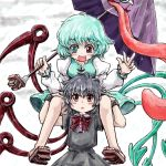 2girls asymmetrical_wings black_hair blue_eyes blue_hair blush carrying dress heterochromia houjuu_nue karakasa_obake long_sleeves multiple_girls nanashii_(soregasisan) open_mouth red_eyes ribbon short_hair sitting_on_shoulder skirt smile solo tatara_kogasa tongue touhou umbrella wings