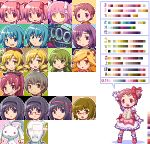 6+girls akemi_homura animal_ears arm_up bespectacled black_hair blonde_hair blue_eyes blue_hair brown_eyes brown_hair child crossdressing crying crying_with_eyes_open demon_(madoka_magica) drill_hair food_in_mouth girl_with_bear_(madoka_magica) glasses gloves goddess_madoka green_eyes green_hair grin hair_ornament hair_ribbon hairband hairclip hat i'm_such_a_fool kamijou_kyousuke kaname_junko kaname_madoka kaname_madoka_(cosplay) kaname_tatsuya kyubey magical_girl mahou_shoujo_madoka_magica miki_sayaka multiple_boys multiple_girls oktavia_von_seckendorff open_mouth outline parted_lips pink_eyes pink_hair pixel_art pocky red_eyes redhead ribbon sakura_kyouko saotome_kazuko sb shizuki_hitomi short_twintails smile soul_gem spoilers sprite_sheet standing tagme tears tomoe_mami translation_request twintails witch_(madoka_magica) yellow_eyes