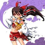 belly_button black_hair blood hakurei_reimu ke-su long_hair navel red_eyes smoke torn_clothes touhou