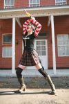 asian black_lagoon boots chainsaw cosplay emo female girl goth gothic omi_gibson photo plaid pleated_skirt punk sawyer_the_cleaner striped thigh-highs women