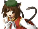 brown_eyes brown_hair cat_ears cat_tail chen earrings fang hat jewelry mio_(artist) mio_(rominuato) multiple_tails short_hair tail touhou