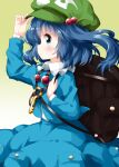 1girl back backpack bag bangs blue_eyes blue_hair blue_skirt blue_vest closed_mouth collared_shirt eyebrows_visible_through_hair flat_cap from_side gradient gradient_background green_background green_headwear hair_bobbles hair_ornament hand_on_headwear hat highres kawashiro_nitori key long_sleeves looking_at_viewer medium_hair pocket ruu_(tksymkw) shirt skirt smile solo standing touhou two_side_up vest white_shirt