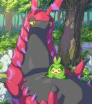 blush_stickers commentary_request day gen_5_pokemon grass looking_at_another looking_down lying makoto_ikemu no_humans o_o on_back open_mouth outdoors pokemon pokemon_(creature) scolipede shadow swadloon tree