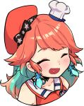 1girl ^_^ blush chef_hat closed_eyes collarbone earrings feather_earrings feathers gradient_hair green_hair hat heart heart_in_mouth hololive hololive_english jewelry multicolored_hair open_mouth orange_headwear smile solo takanashi_kiara transparent_background upper_body virtual_youtuber vyolfers white_headwear