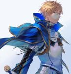 1boy am88121 armor arthur_pendragon_(fate) bangs blonde_hair blue_cape breastplate cape closed_mouth commentary fate/prototype fate_(series) faulds floating_cape green_eyes grey_background hair_between_eyes highres light_smile long_sleeves looking_at_viewer male_focus pauldrons short_hair shoulder_armor simple_background solo upper_body