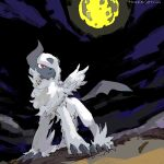absol apios1 bad_id bad_pixiv_id bangs blue_sky claws clouds dutch_angle feathered_wings full_body full_moon gen_3_pokemon hair_over_one_eye mega_absol mega_pokemon moon night night_sky no_humans open_mouth outdoors pokemon pokemon_(creature) red_eyes sky solo standing translated white_hair wings