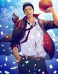 1boy a_jou aomine_daiki arm_up ball basketball belt black_jacket black_pants blazer blue_eyes blue_hair brown_belt clouds cloudy_sky collared_shirt confetti cowboy_shot dark_skin dark_skinned_male dated hand_in_pocket happy_birthday highres holding holding_ball jacket kuroko_no_basuke looking_at_viewer male_focus necktie open_mouth pants red_neckwear school_uniform shirt short_hair sky sleeves_rolled_up solo standing teeth tongue tongue_out tsurime white_shirt