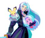 1boy armor blue_eyes copy_ability denaseey final_fantasy final_fantasy_vii gen_2_pokemon grey_eyes grin high_collar highres holding holding_sword holding_weapon kirby kirby_(series) long_hair long_sleeves male_focus on_shoulder pichu pokemon pokemon_(creature) pokemon_on_shoulder sephiroth shoulder_armor silver_hair simple_background smile super_smash_bros. sword weapon white_background