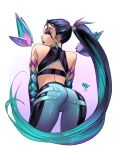 1girl ass bent_over black_hair black_sports_bra blue_lipstick cropped_legs crystal earrings elbow_gloves english_commentary eyeshadow from_behind gloves green_eyes green_hair hair_ornament jewelry k/da_(league_of_legends) k/da_kai'sa kai'sa league_of_legends lipstick long_hair makeup multicolored_hair pants ponytail sleeveless solo sports_bra tight tight_pants two-tone_hair vashperado very_long_hair