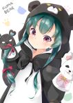 1girl absurdres animal_costume animal_ears animal_hood bangs bear_costume bear_ears bear_hood blush bow closed_mouth commentary_request english_text eyebrows_visible_through_hair fake_animal_ears green_hair hair_bow hand_puppet hands_up highres hood hood_up inahori kuma_kuma_kuma_bear long_hair long_sleeves looking_at_viewer puppet red_bow red_eyes romaji_text simple_background smile solo upper_body very_long_hair white_background yuna_(kuma_kuma_kuma_bear)