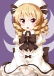 1girl bangs black_bow black_neckwear blonde_hair book bow bowtie cowboy_shot dress dress_bow drill_locks eyebrows_visible_through_hair fairy_wings hair_between_eyes hands_together highres holding holding_book long_sleeves looking_at_viewer luna_child open_book open_mouth purple_background red_eyes ruu_(tksymkw) simple_background solo touhou v_arms white_dress white_headwear wide_sleeves wings