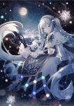 1girl 1other aono_99 bass_clef beret blue_bow blue_eyes blue_gloves blue_tabard blush book bow branch capelet christmas_lights constellation crypton_future_media dress full_moon fur-trimmed_capelet fur_trim gloves gold_trim hair_bow hair_ornament hairclip hat hatsune_miku highres in_tree light_blue_hair long_hair looking_at_viewer moon musical_note_hair_ornament night night_sky open_book rabbit rabbit_yukine signature sitting sitting_in_tree sky smile snowflake_print star_(symbol) star_ornament treble_clef tree twintails very_long_hair vocaloid white_capelet white_dress white_headwear yuki_miku yuki_miku_(2021)