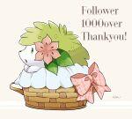 basket bow commentary_request gen_4_pokemon green_eyes highres kisa_(kisa-kisa5900) milestone_celebration mythical_pokemon no_humans open_mouth paws pink_bow pokemon pokemon_(creature) shaymin signature solo