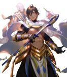2boys abs ahoge arash_(fate) armlet back bare_pecs black_gloves brown_hair cape dark_skin dark_skinned_male egyptian_clothes fate/prototype fate/prototype:_fragments_of_blue_and_silver fate_(series) feet_out_of_frame gloves hair_between_eyes highres holding holding_staff looking_at_viewer male_focus medium_hair multiple_boys muscle nakahara_(mu_tation) navel nipples official_art ozymandias_(fate) parted_lips pectorals sash short_hair shrug_(clothing) smile staff vambraces white_background white_cape yellow_eyes