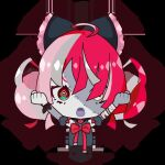 1girl :o ahoge bandaged_arm bandages black_bow black_dress bow chibi clenched_hands double_bun dress grey_hair hair_bow heterochromia hololive hololive_indonesia kureiji_ollie kureiji_ollie_(artist) multicolored_hair open_mouth pink_hair red_bow red_eyes redhead solo stitched_face stitches symbol-shaped_pupils torn_clothes torn_dress virtual_youtuber yellow_eyes zombie